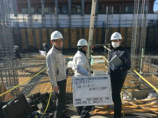 (仮称)TT-FLAT新築工事 B棟地下スラブ配筋検査+A棟耐圧コンクリート打設完了