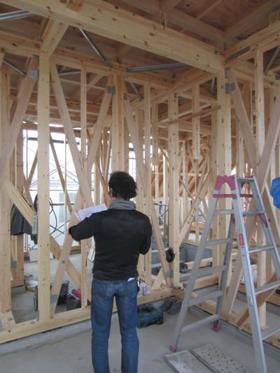 S邸 木造部の金物取付検査