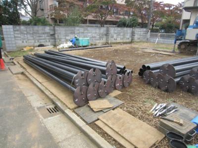 ハナミズキ通りの家 鋼管杭の施工開始