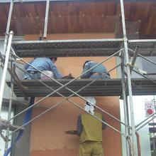 M'S Cafe現場リポート 外壁材の仕上げ工事開始