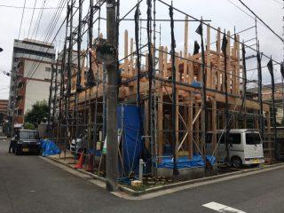 大宮 土手町の家 建て方工事 2日目